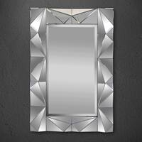 Silver Orchid Badgley Contemporary Silver Wall Mirror