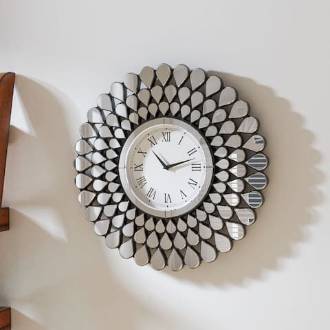 Algie Contemporary Silver Wall Clock by FOA