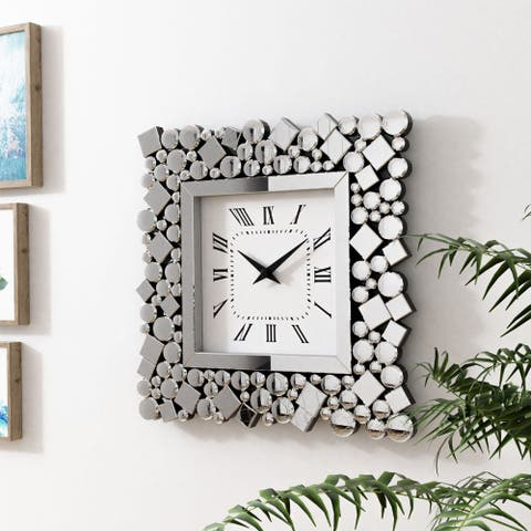Silver Orchid Arvidson Contemporary Square Silver Wall Clock