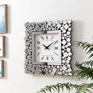 Link to Silver Orchid Arvidson Contemporary Square Silver Wall Clock Similar Items in Decorative Accessories