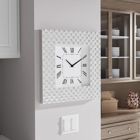Amser Contemporary Silver Wall Clock by FOA