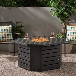 Rene Iron Octagonal Fire Pit by Christopher Knight Home - N/A