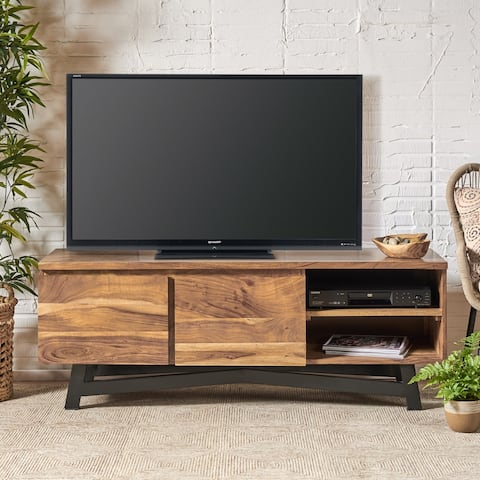 Abercorn Modern Industrial 2 Door Acacia Wood TV Cabinet by Christopher Knight Home