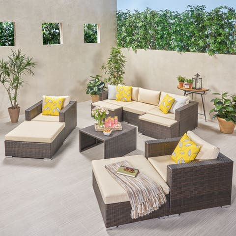 Santa Rosa Outdoor 5 Seater Wicker Sofa Chat Set with Ottomans by Christopher Knight Home