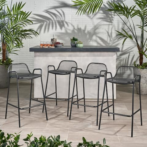 Baltimore Outdoor Modern Barstool (Set of 4) by Christopher Knight Home