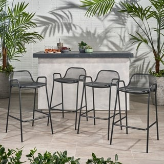 Link to Baltimore Outdoor Modern Barstool (Set of 4) by Christopher Knight Home Similar Items in Patio Furniture