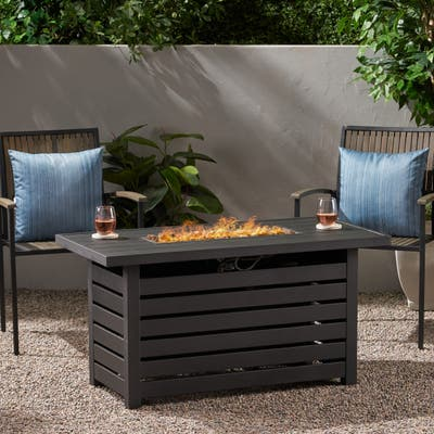 Rene Iron Rectangular Fire Pit by Christopher Knight Home - N/A