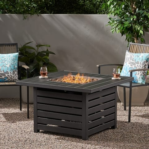 Rene Iron Square Fire Pit by Christopher Knight Home - N/A