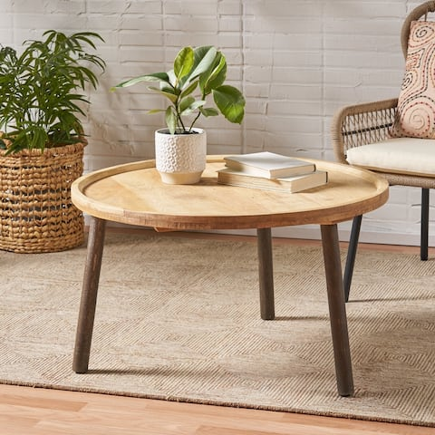 Andalusia Mango Wood Round Coffee Table by Christopher Knight Home