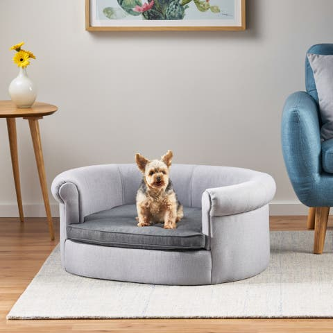 Bleu Fabric Oval Dog Sofa by Christopher Knight Home