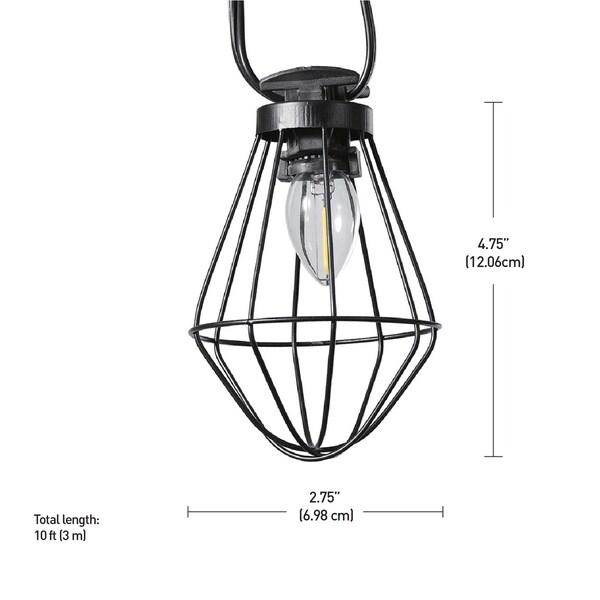10-light Outdoor/Indoor String Lights Vintage LED Bulbs - 10ft