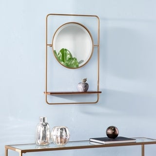 Conway Midcentury Modern Brown Mirror with Shelf