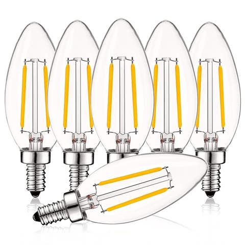 Luxrite 4W Vintage Candelabra LED Bulbs Dimmable, 400 Lumens, 40W Equivalent, Clear Glass, E12 Base (6 Pack)