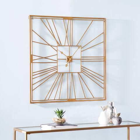 Harper Blvd Bartolome Art Deco Gold Metal Clock