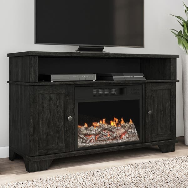 Electric Fireplace Tv Stand Media Cabinet Led Flames By Northwest 45 X 15 5 X 27 5 Overstock 28896198