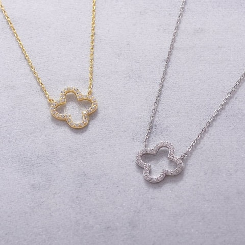Sterling Silver Cubic Zirconia Open Clover Necklace