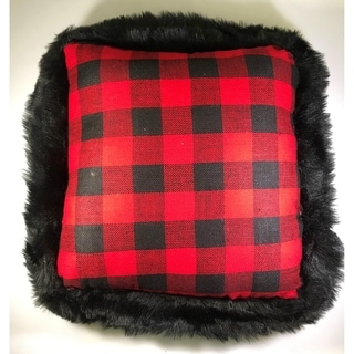 """Gerson Buffalo Check Pillow Red Black with Faux Fur Trim 16"""""""