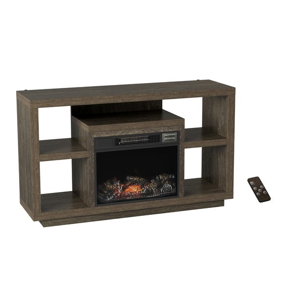 Electric Fireplace TV Stand - Media Shelves by Northwest (Black/Brown) - 48 x 15 x 28