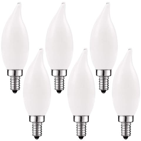 Luxrite 5W Frosted E12 LED Bulb 60W Equivalent, 2700K Warm White, 450 Lumens, Dimmable Candelabra LED Bulbs (6 Pack)