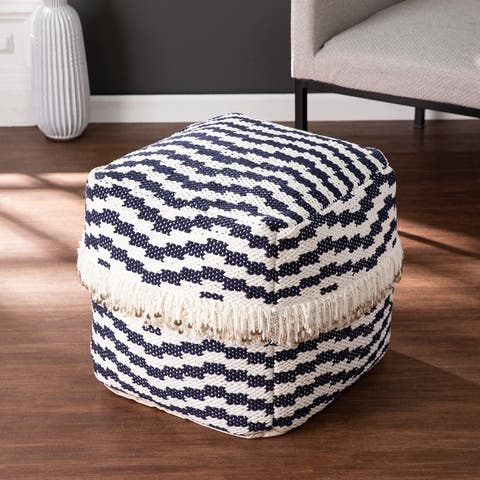 Peters Eclectic Blue Fabric Pouf