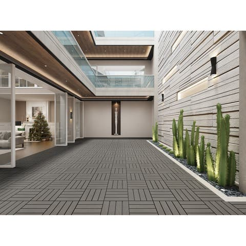Cement Finish Bamboo Composite Deck Tile (11 Sq. Ft/Carton)