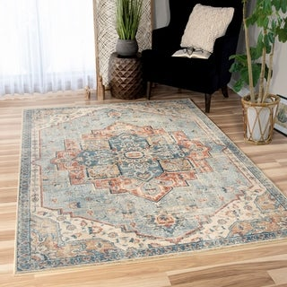 "Palmetto Living Alexandria King Fisher Pale Blue Area Rug - 5'3"" x 7'6"""