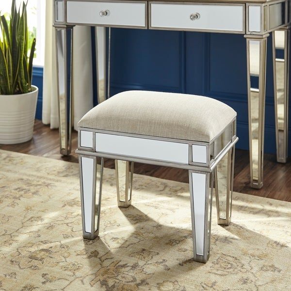 Silver Orchid Kanis Glam Silver Mirror Ottoman Vanity Stool