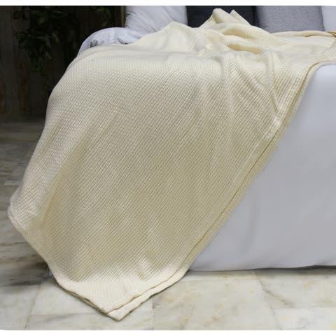 "Briarwood Home - 100% Soft Premium All Season Cotton Blankets, Lightweight Comfortable, Warm & Soft, Queen 90""X90""-Ivory"