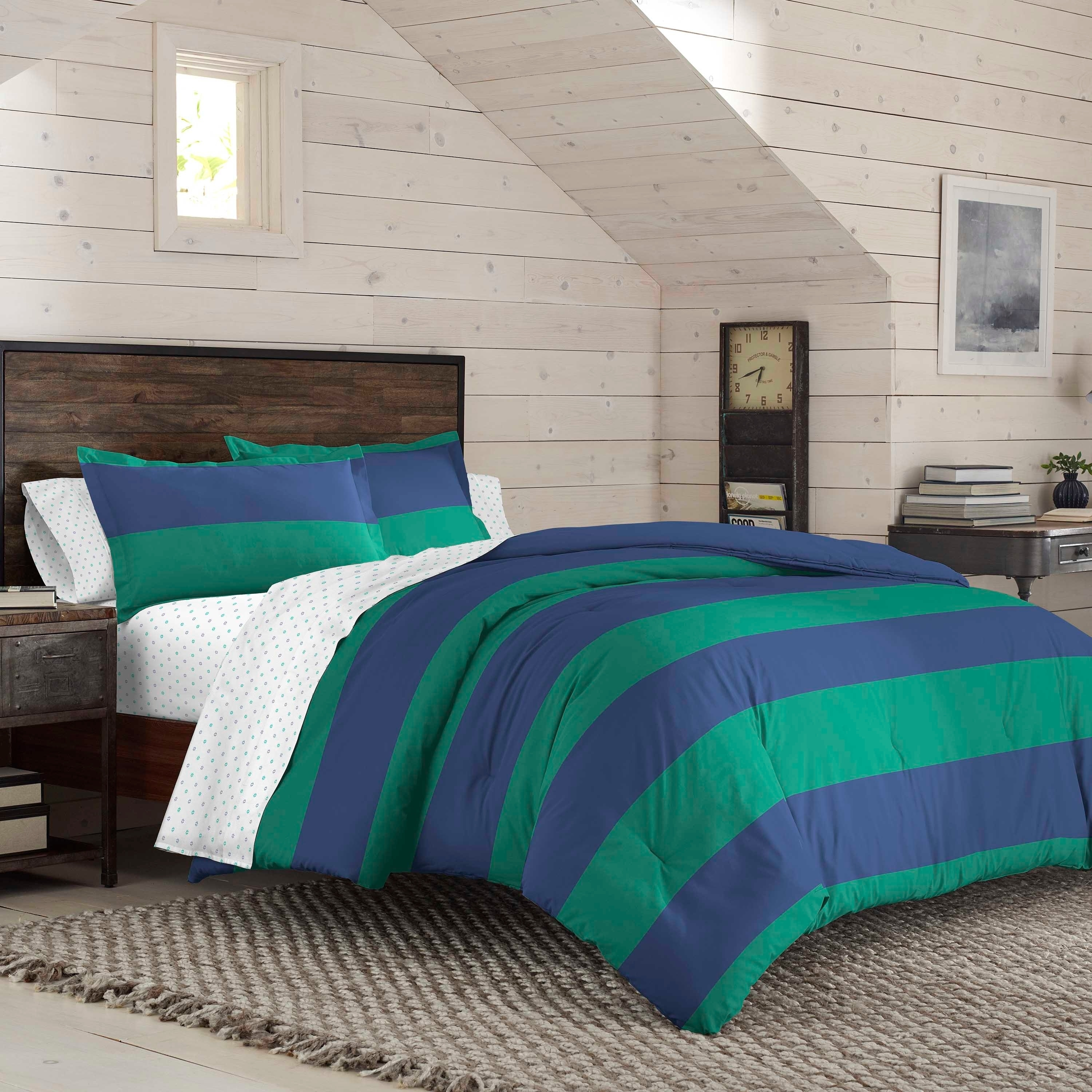 Izod American Rugby Stripe Reversible Comforter Set With Shams On Sale Overstock 28898784 King Blue Green