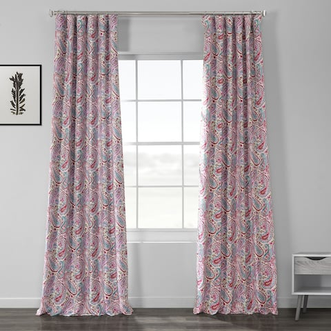 Exclusive Fabrics Bohemian Paisley Pink Printed Linen Textured Blackout Curtain