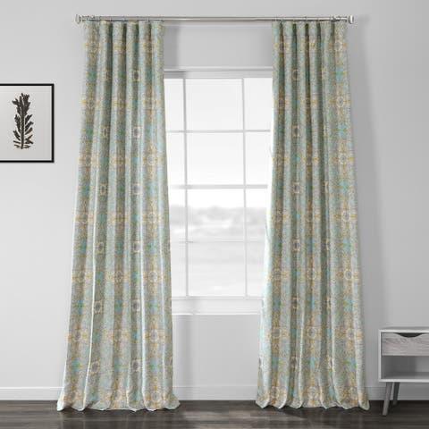 Porch & Den Kim Sky Blue Geometric Floral Printed Room Darkening Curtain