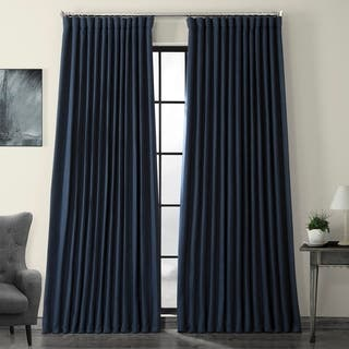 Exclusive Fabrics Faux Linen Extra Wide Blackout Curtain