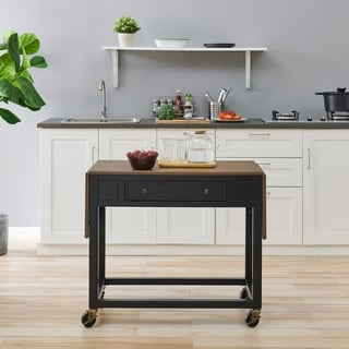 Copper Grove Clarisse Transitional Black Wood Kitchen Cart
