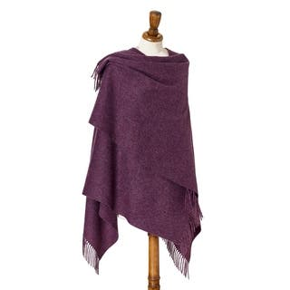 """Bronte by Moon Ruana - Merino Lambswool - Plain - Purple Heather - 55"""" x 53"""""""