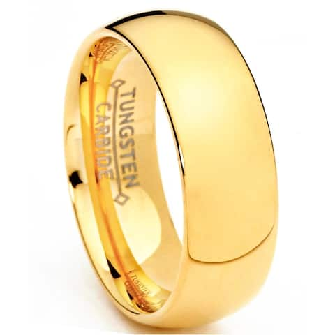 Oliveti Men's Goldplated Tungsten Carbide Wedding Band Ring Dome Comfort Fit 7mm