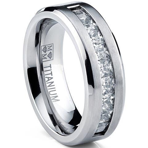 Oliveti Men's Titanium Wedding Band Ring with Princess Cut Cubic Zirconia, Comofrt Fit 8mm