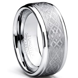 Oliveti Unisex Tungsten Wedding Band Ring with Celtic Design Comfort Fit 9mm