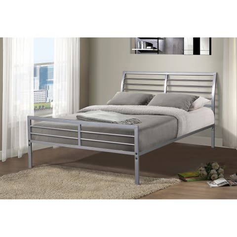 Metal Mod Bed in Silver Finish