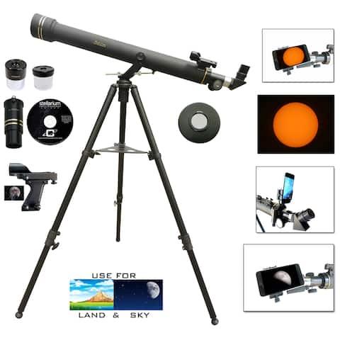 800mmX72mm Telescope + Smart Phone Adapter + Solar Filter Caps