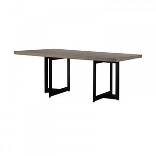 Modrest Sharon Modern Concrete & Black Metal Dining Table