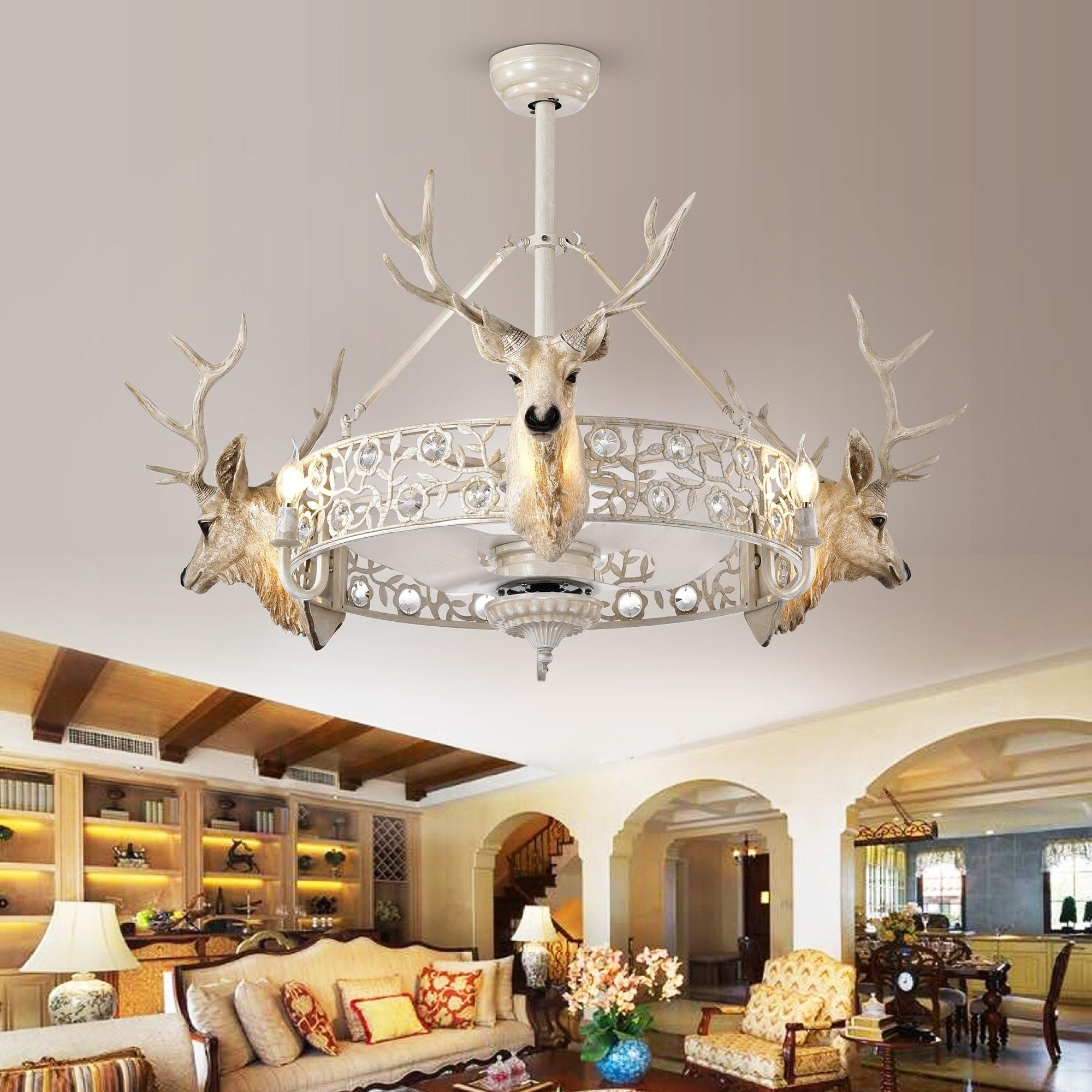 Deer Head Fandelier Led Lighted