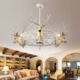 Deer Head Fandelier LED Lighted Ceiling Fan with Remote Control (includes bulbs)