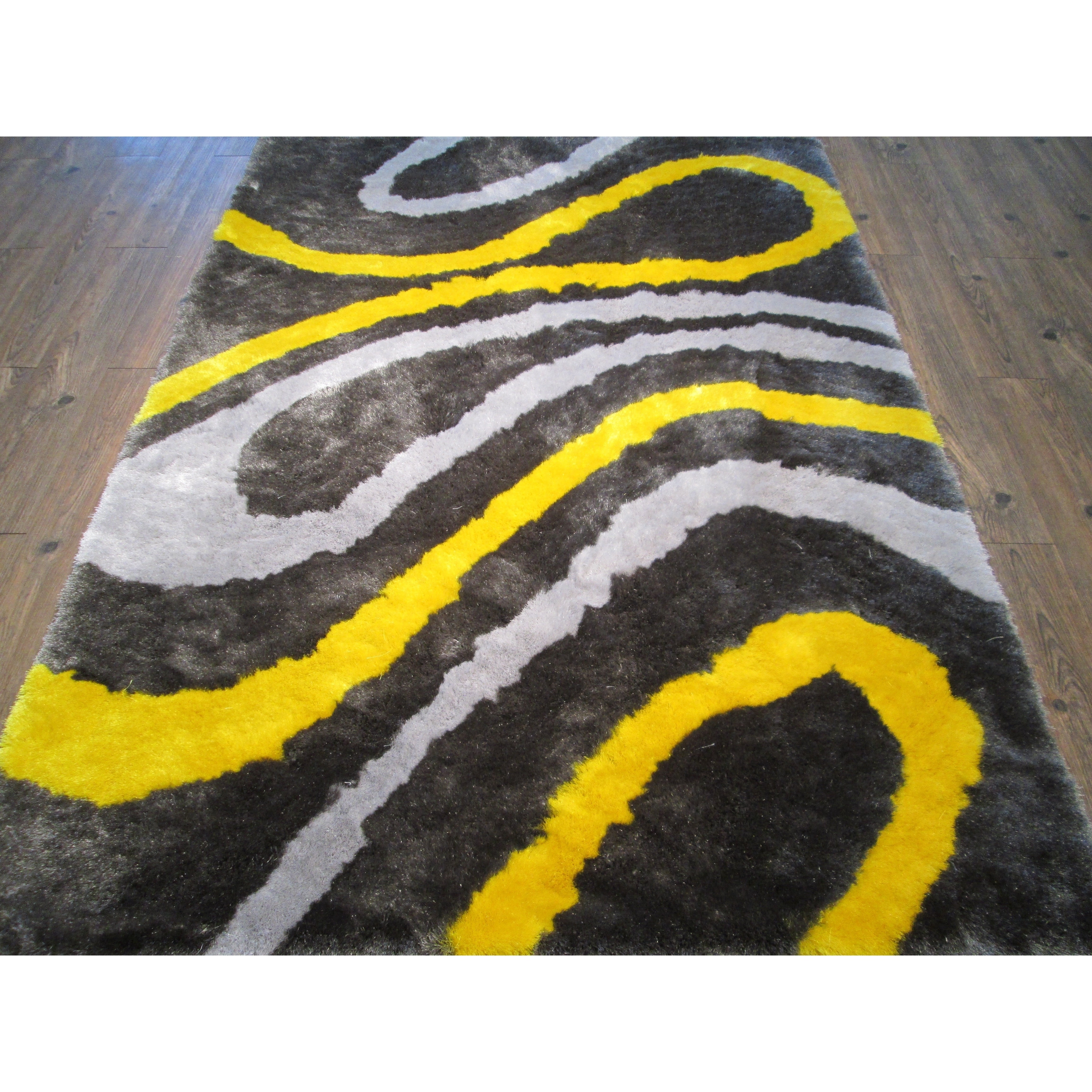 Picture of: Shop Gray Yellow 5×7 Contemporary Area Rug Big Free Shipping Today Overstock 28900923