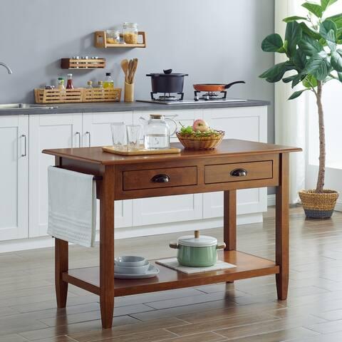 Porch & Den Colleen Transitional Brown Wood Kitchen Island