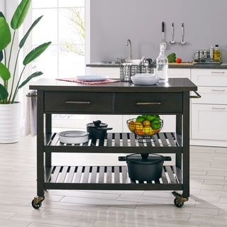 Holly & Martin Havelock Modern Farmhouse Rolling Kitchen Island