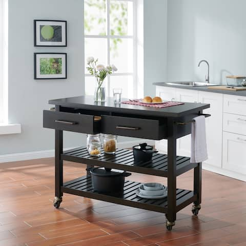 Holly & Martin Havelock Modern Farmhouse Rolling Kitchen Island - Black