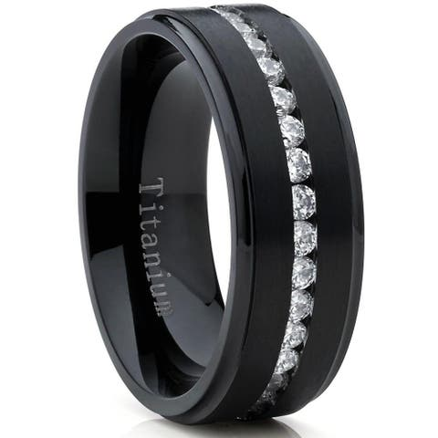 Oliveti Men's Black Titanium Wedding Band Eternity Ring with Round Cubic Zirconia 8mm