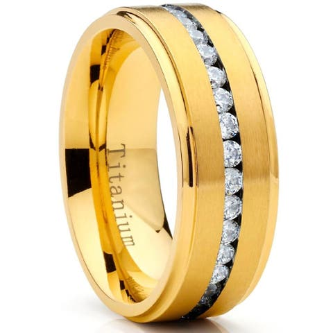 Oliveti Men's Goldplated Titanium Wedding Band Eternity Ring with Round Cubic Zirconia 8mm