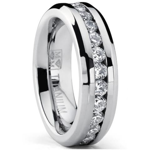 Oliveti Women's Titanium Wedding Band Eternity Ring with Round Cubic Zirconia 6mm