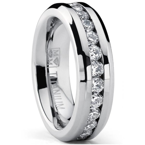 Oliveti Women's Titanium Wedding Band Eternity Ring with Round Cubic Zirconia 6mm. Opens flyout.